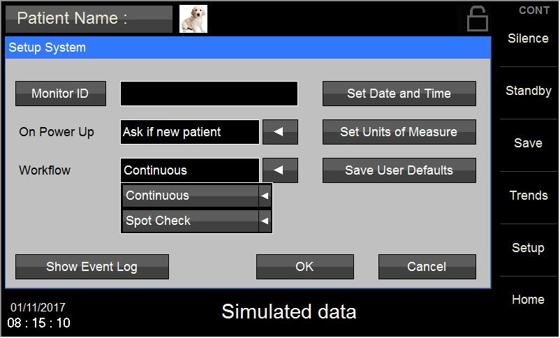 Figure 12: Setup System Menu: Workflow selection location 7.