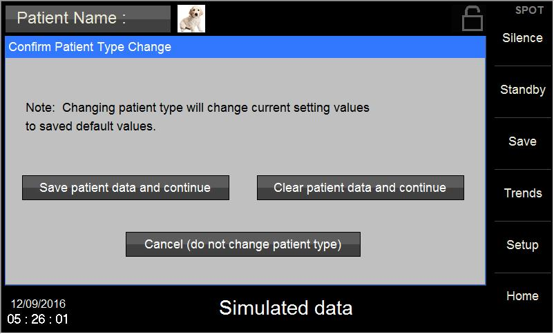 Figure 17: Confirm Patient Mode Change Screen Caution Switching modes from Horse, Dog or Cat to any other patient mode, shall recall