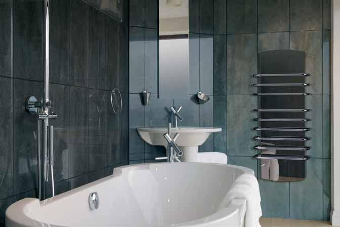 premium designer towel rails the LT range Incorporating a striking glass centre panel in either cool white or a dark mirrored finish, the Lattimo range of designer towel rails can add a touch of