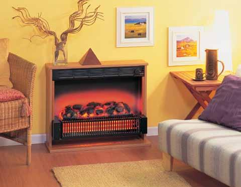 Attractive cherry finish surround. 2kW of radiant heat. Flickering flame coal effect.