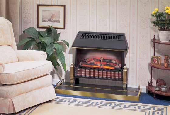 fuel effect fires the Lyndhurst features Stylish black canopy. Flickering flame log effect. 2kW of radiant heat. 0.7kW of thermostatically controlled convected heat.