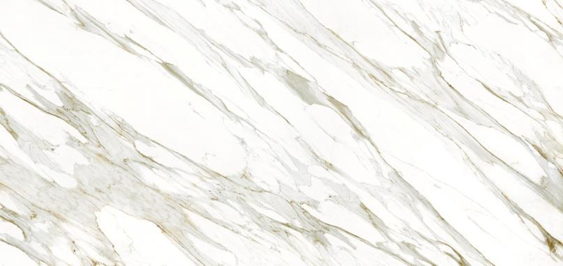 Inspired by Silver Travertino, the new decor, Strata Argentum with its white and silver horizontal lines, brings out the delicacy of the material and is a unique and incomparable offer in the current