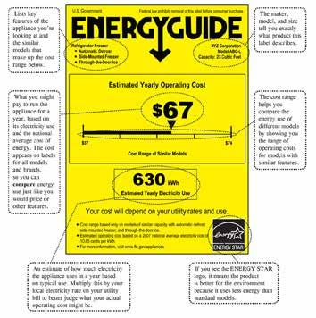 The results are printed on the yellow label and manufacturers are required to display the label on many appliances. This label will give you an estimate of yearly energy cost.