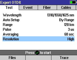 Real Time OTDR Settings In the Real Time test mode, the user may set the Auto Setup parameter to Off or By Range.