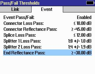 Event sub-menu D provides Event Settings: Connector Loss and Reflectance, Splice Loss, Split Ratio & Splitter Loss.