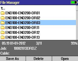 File Manager Cables Screen Depending on the prior settings, the File Manager may be displayed as Jobs, Cables, or Results screen. To display Cables screen perform the following.