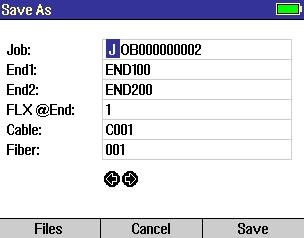 File Manager Save As Screen The Save As screen allows the user to save current test results and create new Jobs/Cables as needed.