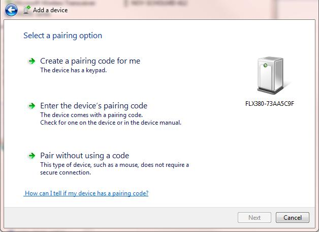 Enter 0000 4-digit pairing code L, click Next and verify the device is