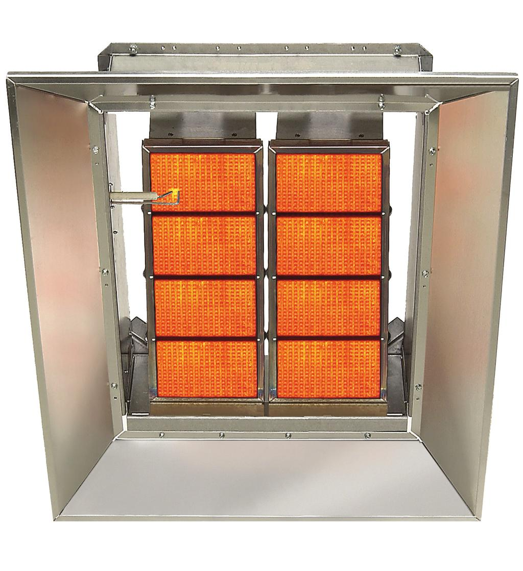 HIGH INTENSITY INFRARED HEATERS RSD Series Ceramic Heaters Special Honeycomb Tile Design for Increased Radiant Output Inputs from 30,000 to 160,000 Btu/hr Suitable for Angle Mount up to 35 All