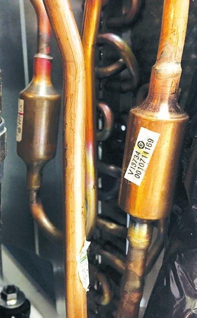 The accumulator helps prevent liquid refrigerant from entering the compressor during run operation.