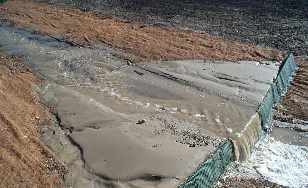 Sediment Control Dealing with soil once it is dislodged and in suspension. Trapping sediment that is moving in the erosion process and retaining it onsite.