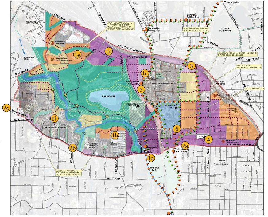 Subarea 9: Previous Plan Land Use The previous Subarea 9 Master Plan highlighted specific areas for land use changes. Changes were based on existing and proposed future conditions.