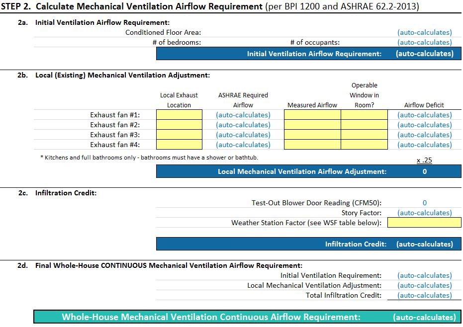 Whole Building Air Sealing Calculator Step 2 calculates whole house ventilation airflow requirement Step 2 Inputs: