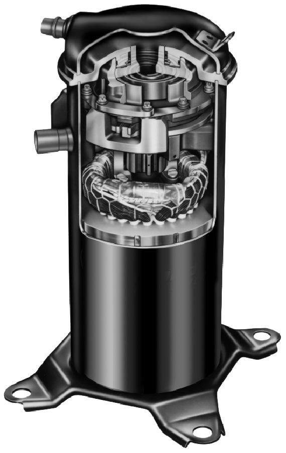 D FEATURES COMPRESSOR Scroll Compressor Compressor features high efficiency with uniform suction flow, constant discharge flow, high volumetric efficiency and quiet operation.
