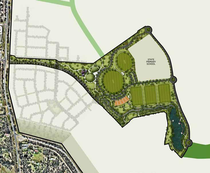 REGIONAL SPORTS & RECREATION PARKS MAIN PLAYGROUND JUNIOR CRICKET PITCH SENIOR CRICKET PITCH FOOTBALL/ SOCCER FIELDS COURTS WETLAND This plan was prepared prior to construction and is indicative only