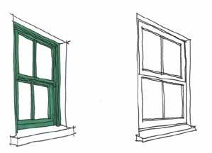 Windows with clip-on glazing bars should be avoided. Plain frosted glass should only be used in obscured windows - not patterned or textured.