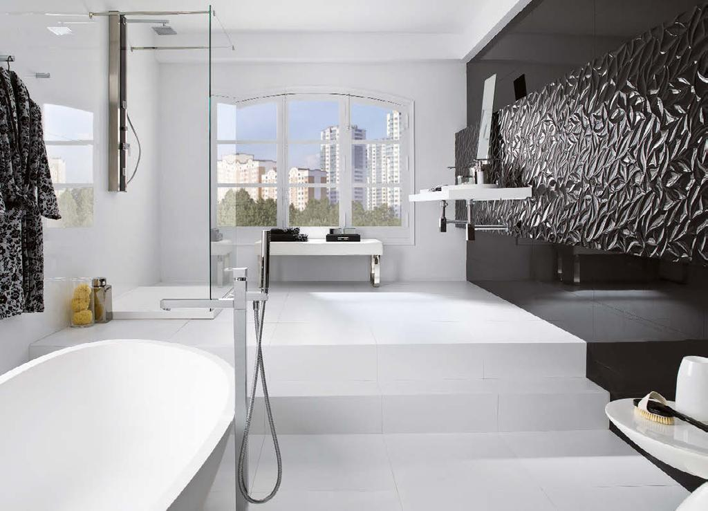 PORCELANOSA 4 5 1This open, white space gets a contemporary and exclusive look with Extreme White flooring,