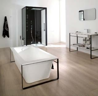 4 Free-standing Modul bathtub in Krion Stone with pure symmetrical lines.