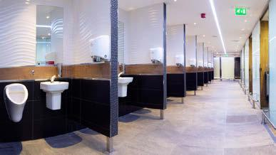 Several elements by Noken have also been used: wall-mounted Acro urinal with flush mechanism above, and wall-mounted Acro 35 cm W/H basin. The floor is Arizona Anthracite 43.5 x 65.