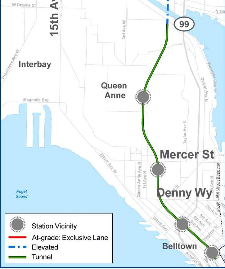 New bridge over the Ship Canal (70 clearance over water surface) At-grade on N 36th Street and NW Leary Way from