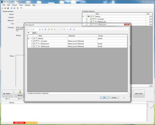 Motion Editor software for parameter setting