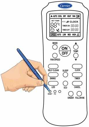 USE OF REMOTE CONTROL (Cont.) RESET Function When you press the recessed RESET button, all current settings are cancelled and return to original factory settings.