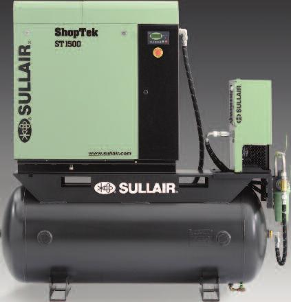 The package includes the Sullair ShopTek compressor, SRS dryer, SCF filter, and an 80 gallon or 120 gallon storage tank. Note: The dryer, filter, and receiver tank are optional.