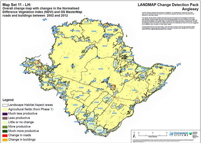 Landscape monitoring example map 1 Mega change map Highlights the most