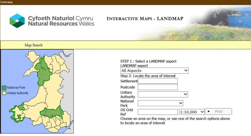Accessing LANDMAP spatial datasets To access the LANDMAP interactive map to view aspect area maps and surveys http://landmap-maps.