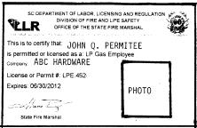 SAMPLE LP-GAS PERMIT