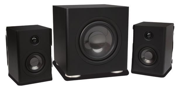 "New Loudspeakers GSS Sub/Sat System Shipping Q4 Complete 2.1 system includes 6½"" subwoofer and two 3½"" mini monitors."