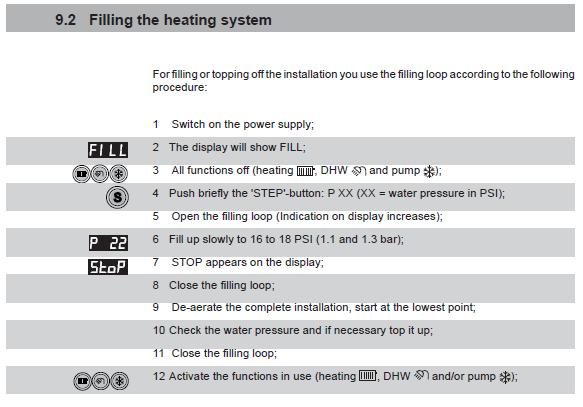Filling the heating system Note: You must have either a hot water or heat demand to