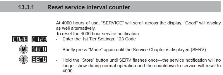 Reset service interval