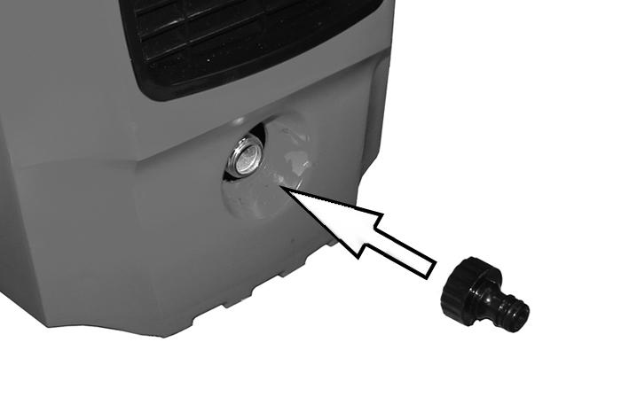 Screw the inlet adaptor to the water inlet as shown. 2. Connect the mains water supply hose to the inlet adaptor.