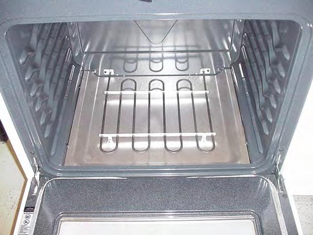 When the oven bottom is removed, the element can be serviced in the