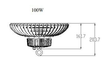 LED UFO HIGHBAY DIMENSIONS PHOTOMETRIC DATA PT-HBA-100W SERIES TECHNICAL SUMMARY PT-HBA-100W-50-EM INPUT WATTS 100 INPUT VOLTAGE AC