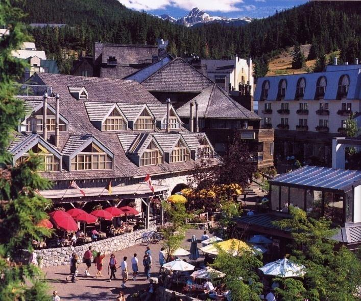 Whistler Resort Pedestrian Village Commercial services base camp linked to mountain and valley