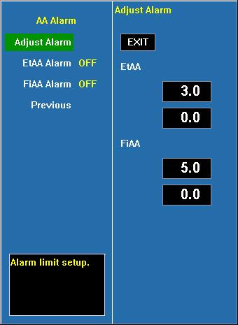 Adjust alarm Select this option to enter the configuration of alarm limits; conduct the configurations by turning the trim knob to select high and low limits and exit by selecting EXIT.