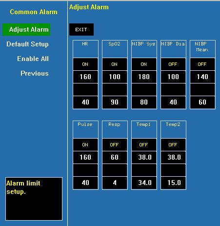 4.2.4 Alarm Setup Common Alarm Click and open the dialog of common parameters alarm.