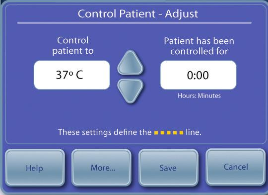 To enable Manual Control, from the Normothermia Therapy screen press the Adjust button located at the bottom center of the screen. From the Control Patient-Adjust screen, press the More button.