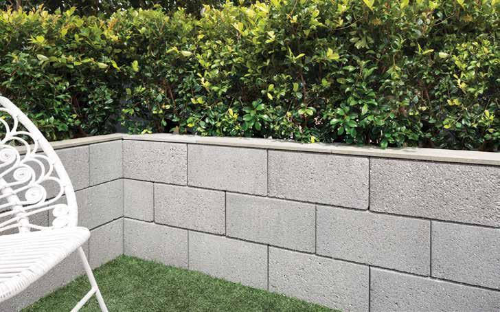 CONNEX-T SHARP & MODERN RECOMMENDED USE A stylish retaining wall with a premium textured finish that can be constructed as a dry mortarless wall or core-filled to provide a max. 1m height.