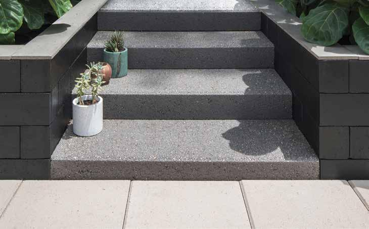 EASY STEP VISUALLY PLEASING RECOMMENDED USE A solid masonry step, with a premium textured finish. Available in 2 modern colours.