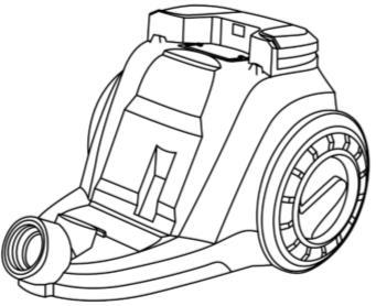 VACUUM CLEANER ASSEMBLY Ensure the unit is unplugged before assembling. 1. Place the dust container onto the unit, base first, then tilt forward to engage the top. 2.