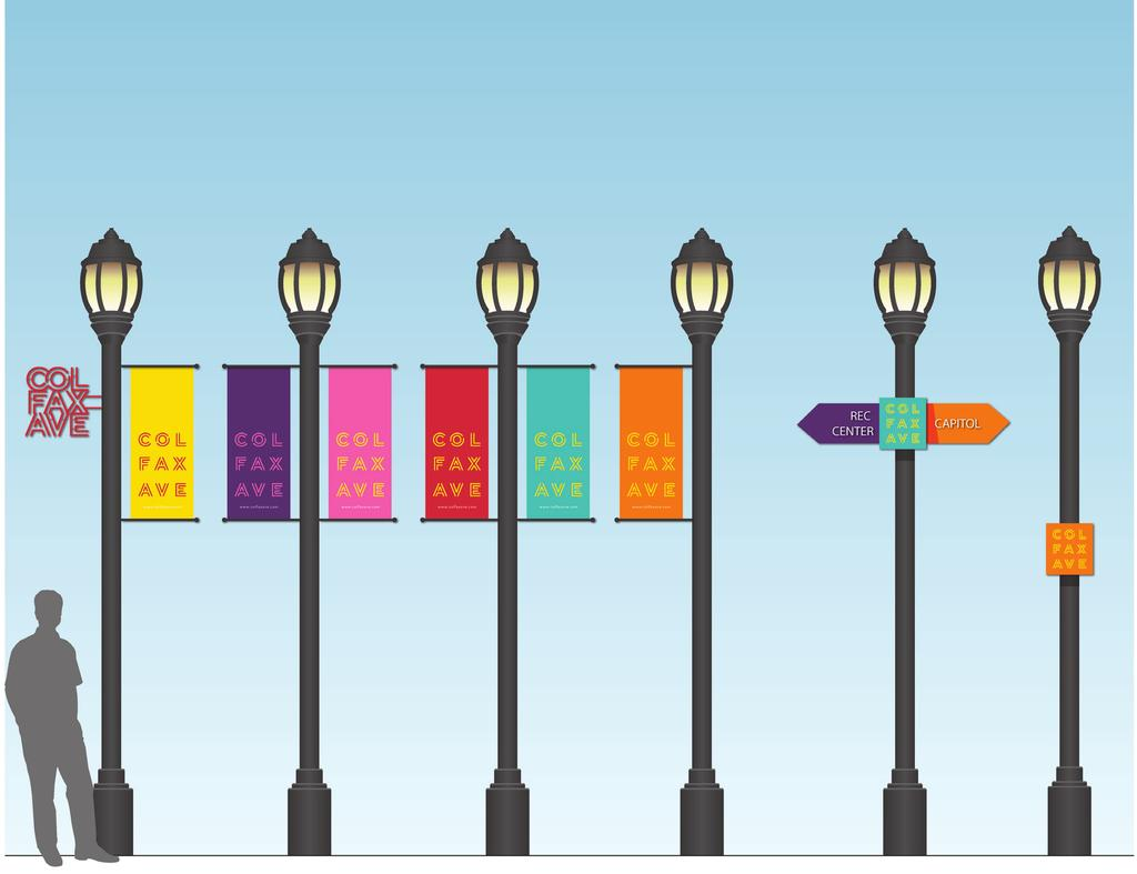 SIGN TYPES D: POLE MOUNTED ELEMENTS Pole mounted elements play a significant role in the branding and placemaking