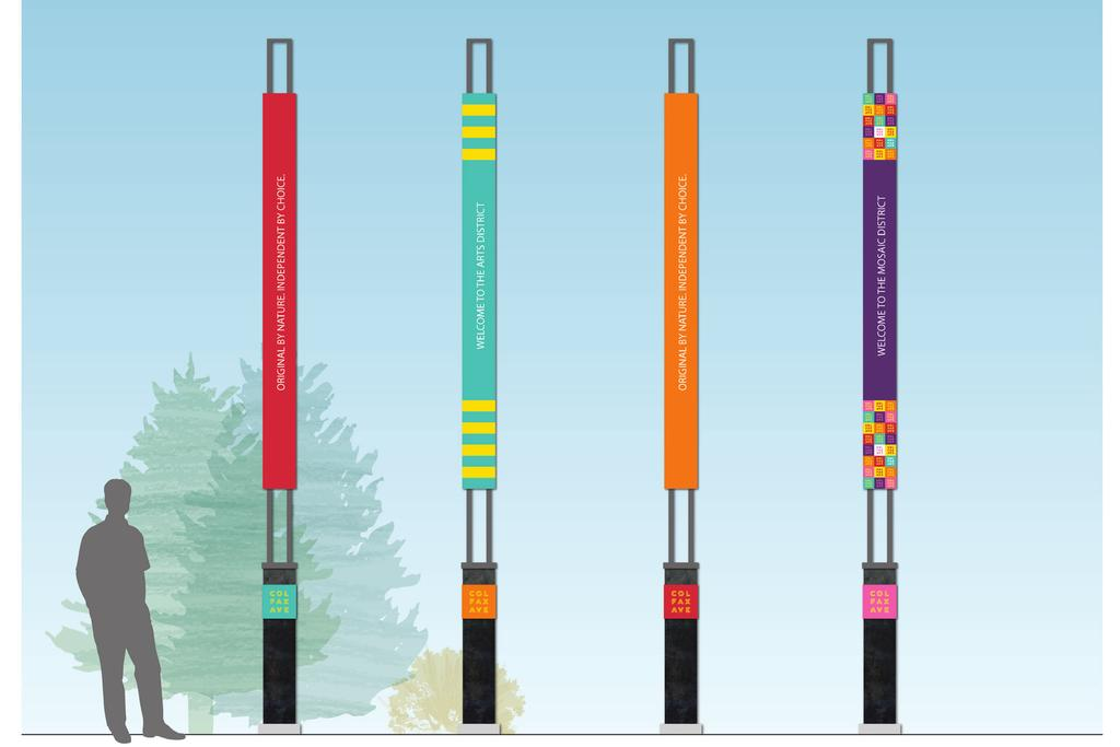 SIGN TYPE F: VERTICAL CHOPSTICKS Similar to the large scale Colfax type installation, these poles could be clustered in medians, pocket parks and other key