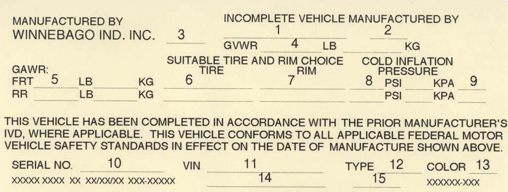 SECTION 1 INTRODUCTION VEHICLE CERTIFICATION LABEL This label is affixed to the lower driver side armrest panel, driver door, or the driver side door jamb, depending on model.