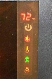 SECTION 12 MISCELLANEOUS Control Panel Power Flame Heater Timer Backlight NOTE: Holding the POWER button on the control panel for ten seconds will disable the heater function.