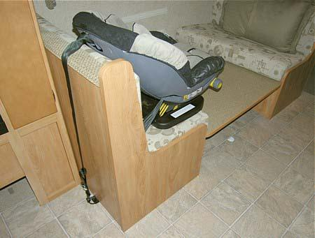 SECTION 3 DRIVING YOUR MOTORHOME 1 2 3 1. Lower the dinette table. 2. Route the tether over the top of the dinette seat back and hook it to the anchor loop on the floor. 3. Fasten the lap belt.