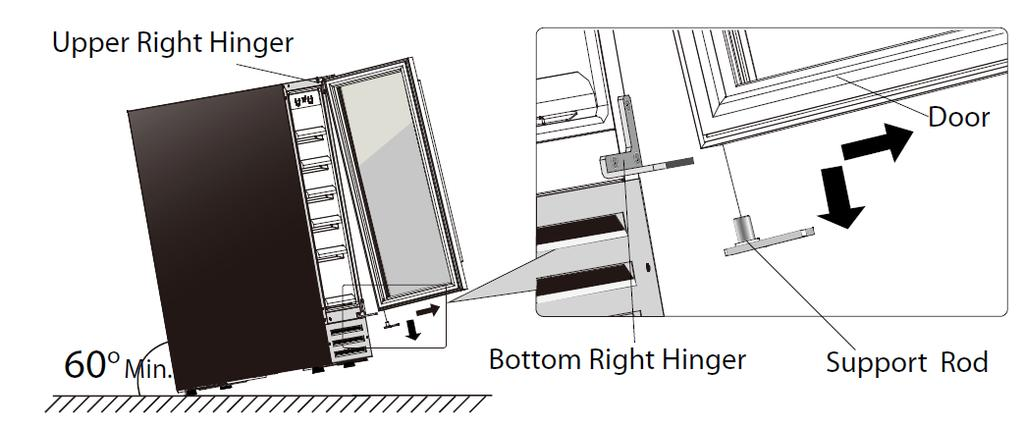 To reserve the door from right hinge to left hinge, you need to retrieve the Upper Left Hinge, and a Bottom Left Hinge from the spare parts pack shipped with