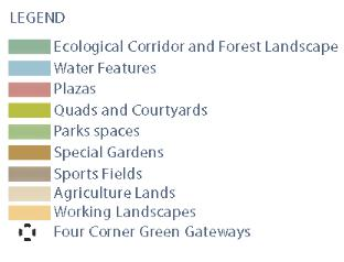 Each typology accommodates a variety of needs LEGEND ECOLOGICAL CORRIDOR AND FOREST LANDSCAPE